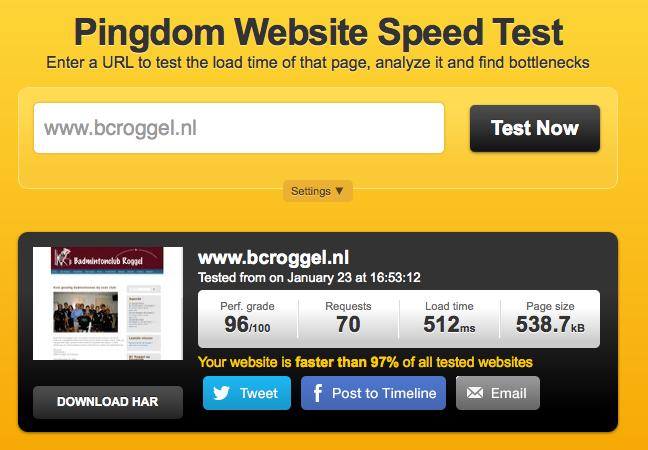 Pingdom test bcroggel.nl